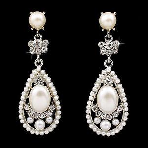 Bridal-Wedding-Crystal-Rhinestone-Pearl-Teardrop-Dangle-Earrings-Silver-Ivory