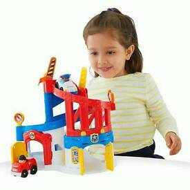 boxed ..look..Fisher Price Little People Race and Chase Rescue Wheelies Playset -