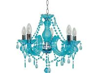 Pair of chandeliers teal colour