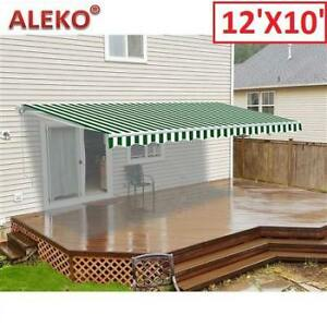 OB ALEKO RETRACTABLE PATIO AWNING AW12X10GWSTR00 201889837 Green and White Stripes 12'X10' OPEN BOX
