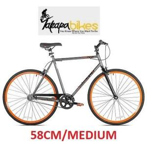 NEW TAKARA SUGIYAMA FIXIE BIKE 58CM 52734 182330427 MEDIUM FLAT BAR GRAY/ORANGE BICYCLE