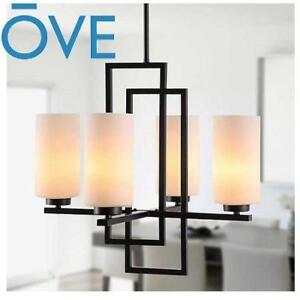 NEW OVE CRYSTAL CHANDELIER 231525816 JASMINE II DIMMABLE OPAL GLASS  BLACK FINISH