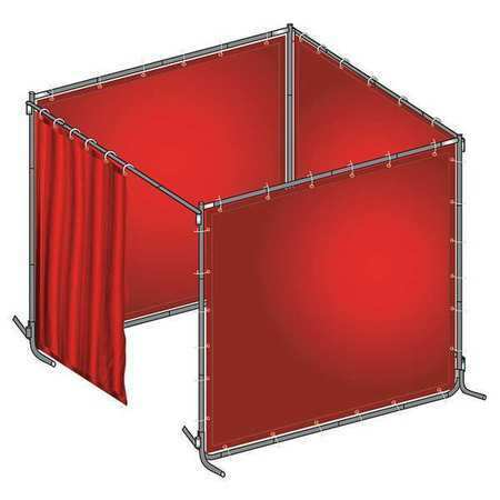 Westward 22Rp05 Welding Booth,8 Ft. W,6Ft,0.014 In.,Red