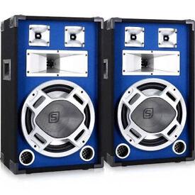 Pair of skytec speakers 400w per speaker blue with flashing lights