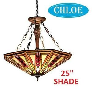 "NEW TIFFANY STYLE 3-LIGHT PENDANT CH35001RM25-UH3 219200160 CHLOE LIGHTING MOSAIC JAYDEN 25"" SHADE HOME HOUSE DECOR"