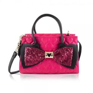 Betsey Johnson pink quilted heart crossbody satchel purse
