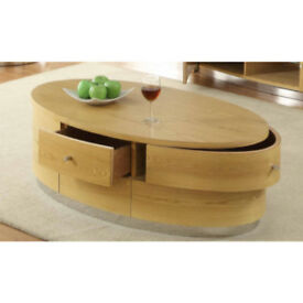 Solid Oak Coffee Table with Mirror Trim