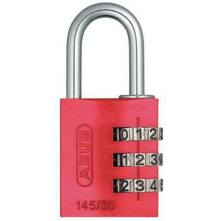 Abus 145/30 Red Combination Padlock,Side,Black/Silver