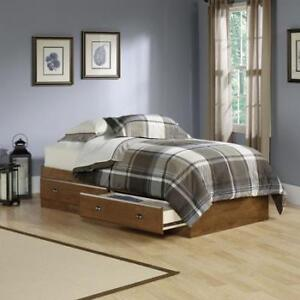Twin bed with bookcase, mattress and nightstand