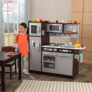 KidKraft Uptown Espresso Kitchen with 30 Piece Play Food W