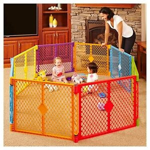 Superyard xt play pen 6 piece with 2 piece extension kit.