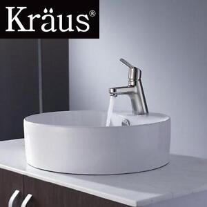 NEW KRAUS WHITE ROUND CERAMIC SINK WITH FERUS BASIN FAUCET BRUSHED NICKEL - KITCHEN BATHROOM HOME VANITY 110835231