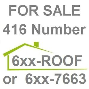 FOR SALE 416 6xx ROOF (7663) an Easy Vanity VIP 416 Phone Number