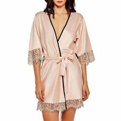 iCollection BLUSH Satin & Eyelash Lace Robe, US Small