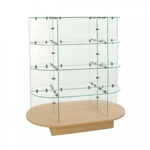 4 Tiered Glass Display Case with Oval Base (on Wheels)