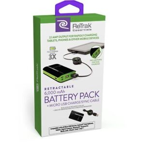 ReTrak Retractable 6000mAh Battery Pack+micro USB charge