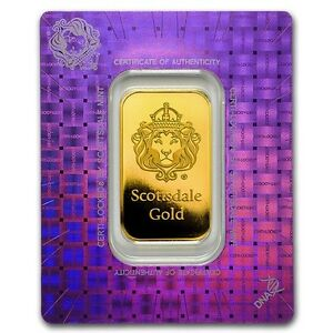 1 oz Lingotin Barre Or Pur Scottsdale Fine Gold Bullion Bar 24K