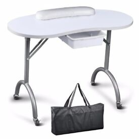 Manicure Table Nail Art Desk Pull Out Drawer + Wrist Rest