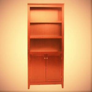 NEW 5 SHELF RED BOOK CASE WITH DOORS