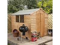 8x6 overlap shed, brand new and assembled for you. Also comes with free base*