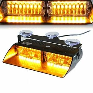 Xprite 16 LED Amber Strobe Lights For Dash / Windshield With Suc
