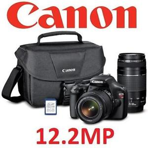 USED CANON EOS REBEL T3 BUNDLE 12.2MP Digital SLR Camera Kit with Two Lenses, 8GB SD Card, Bag - ELECTRONICS 101084157