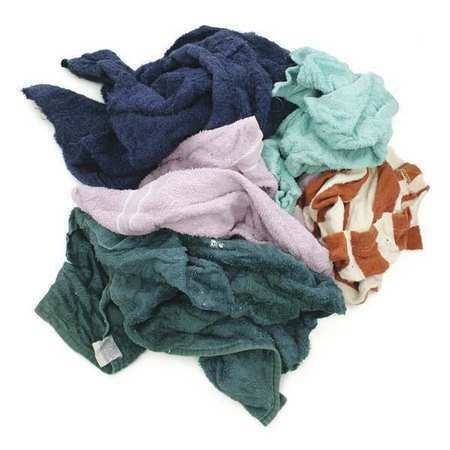 Zoro Select 515-10N Reclaimed Terry Cloth Rag 10 Lb. Varies Sizes, Assorted