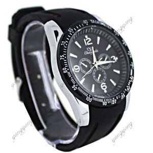 Fashion Men Black Strap Quartz Wristwatch Gift C3H