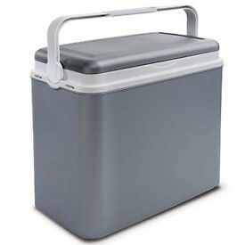Brand new 24l litre grey/silver insulated cool box cooler with freeze blocks