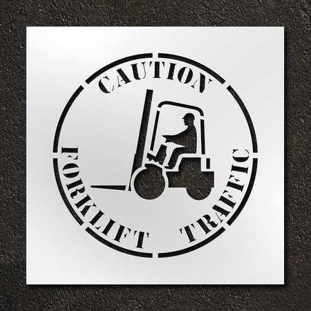 Rae Stl-116-12415 Stencil,Caution Forklift Traffic,24 In