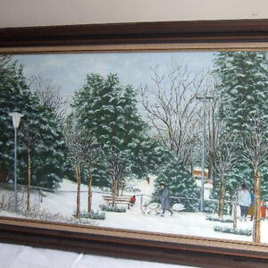 Vintage Winter Holiday Christmas Scene Oil Painting