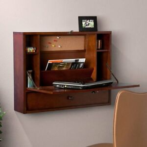 Wall-Mount Laptop desk, Brown Mahogany W