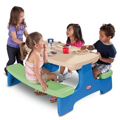 Little Tikes Easy Store Picnic Table, Blue/Green W