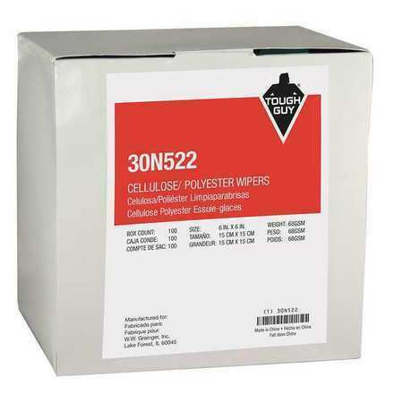 Tough Guy 30N522 Dry Wipe, White, Cellulose, Polyester, General Use In Wet Or
