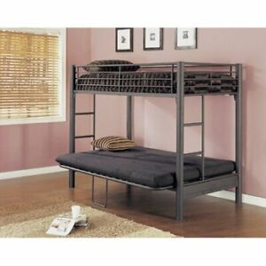 Metal Twin-Over-Double/Futon Bunk Bed - Excellent Condition!