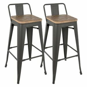 """Kitchen Bar Stool - Low Back - Steel & Wood - 30"""" Seat Height"""