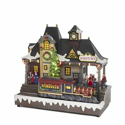 "NEW Christmas VILLAGE Train Kurt S. Adler 12"" Musical LED Moving Music Town Snow"