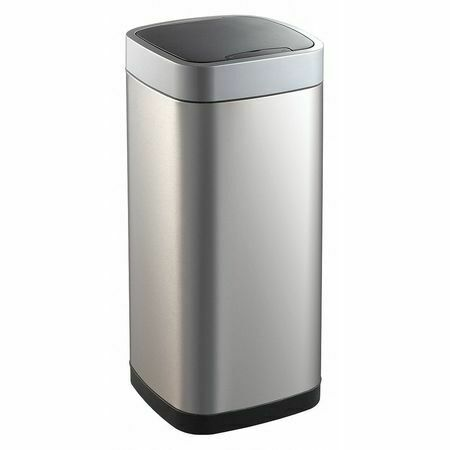 Zoro Select 54Tt81 21 Gal Stainless Steel, Abs Square Trash Can, Flat, Silver