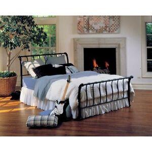 Black Metal Sleigh Bed