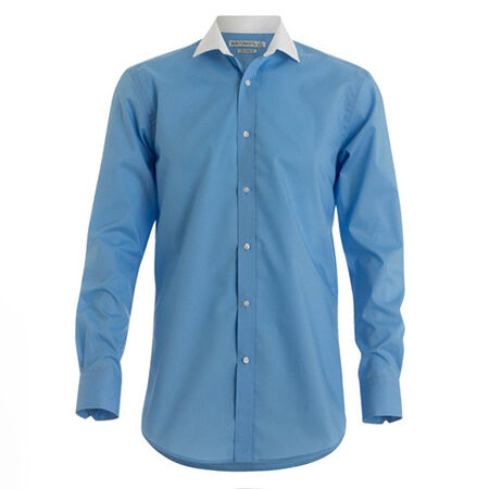 Men's Long Sleeve Formal Dress Contrast Collar Shirt
