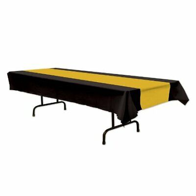 Black and Gold Plastic Tablecover](Black And Gold Table Decorations)