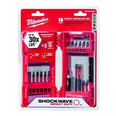 "MILWAUKEE 48-32-4403 Shockwave (R) Screwdriver Bit Set, 18 Pieces, 1/4"" Shank"