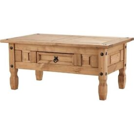 Natural Beautiful Corona Coffee Table with Drawer