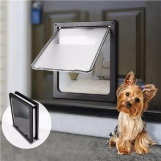 Extra Large 2 Way Lockable Pet Dog Cat Brushy Flap Door-Black