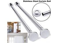 Telescopic chrome shower curtain pole / rod (125cm - 220cm)
