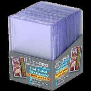 """Ultra Pro 3""""x4"""" 100pt Trading Cards Toploaders 25 Count Pack"""