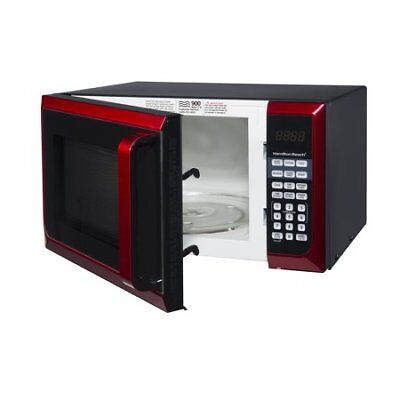 Hamilton Beach 0.9 Cu-Ft. Microwave Oven, Red, Stainless Steel