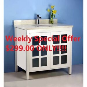 $299 for a brand new solid wood vanity w/ quartz countertop