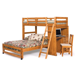Twin bunk beds with desk