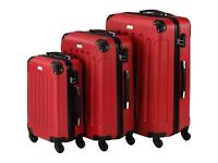 VONHAUS 3 PIECE RED LIGHTWEIGHT LUGGAGE SET